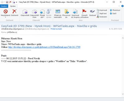 Example of an email from model EasyTask